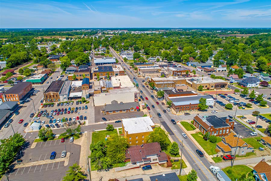 Athens TN - Aerial View of Small Town Athens Tennessee