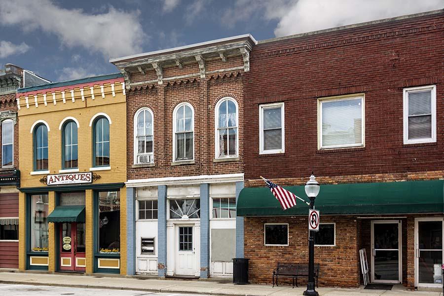 Lenoir City TN - Row of Buildings Along Main Street in Lenoir City Tennessee