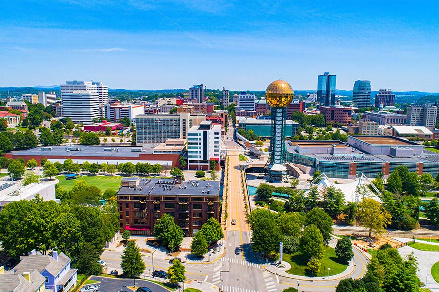 Tennessee - Aerial View of Downtown Knoxville Tennessee