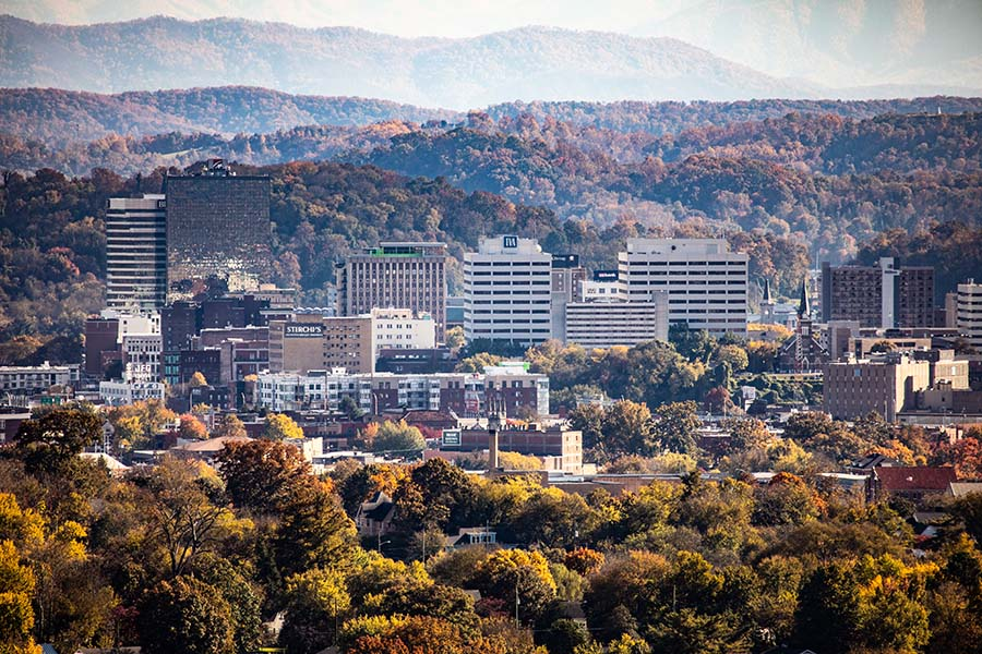 Knoxville TN - View of Downtown Knoxville Tennessee and Smoky Mountains